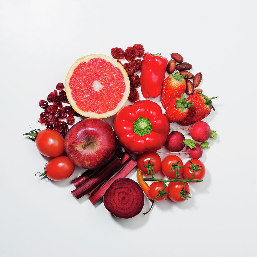 A Selection Of Red Fruits & Vegetables Photograph by David Malan