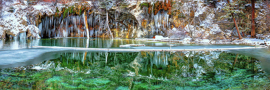 A Serene Chill - Hanging Lake Colorado Panorama by OLena Art - Lena Owens