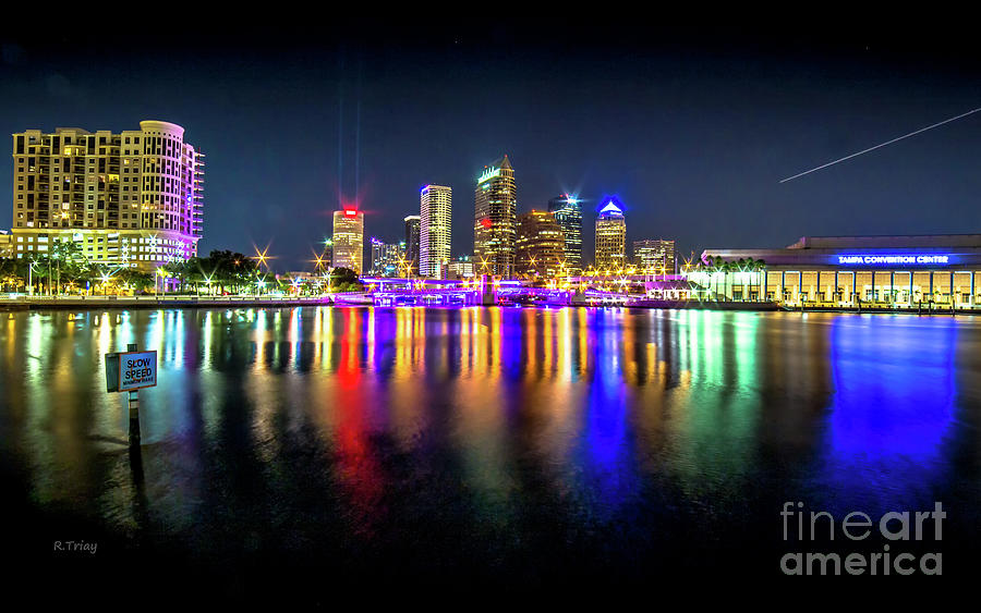 A Serene Downtown Tampa Night Skyline by Rene Triay Photography
