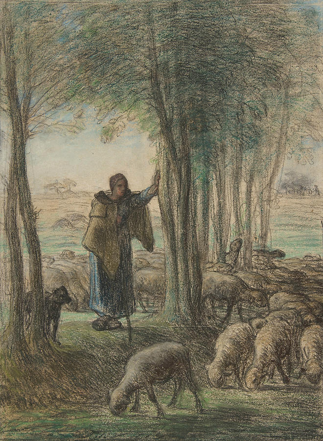A Shepherdess and Her Flock in the Shade of Trees by Jean-Francois Millet