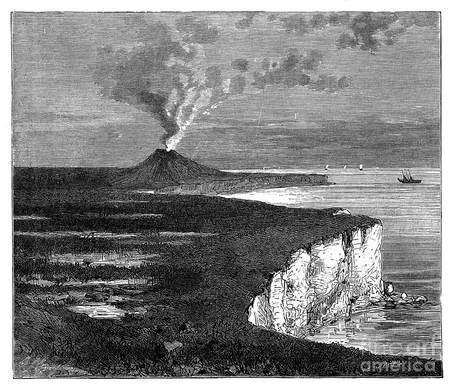 A Shield Volcano On Reunion Island Drawing by Print Collector