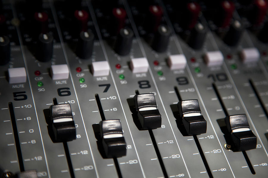 A Sound Mixing Board, Close-up, Full Photograph by Tobias Titz