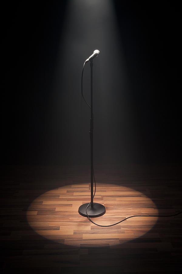 A Spot Lit Microphone Photograph by Caspar Benson