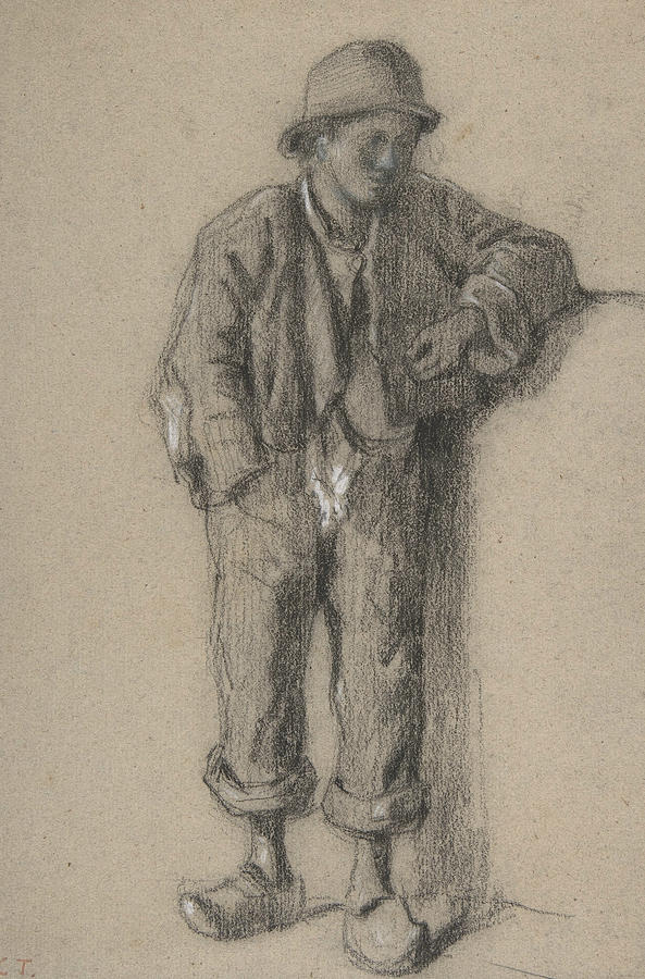 A Standing Peasant Boy in Hat and Wooden Shoes by Constant Troyon