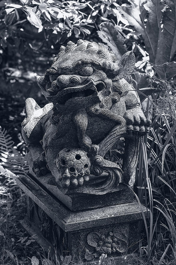 Sculpture Photograph - A Stone Gargoyle In The Woods by Graham Cornall