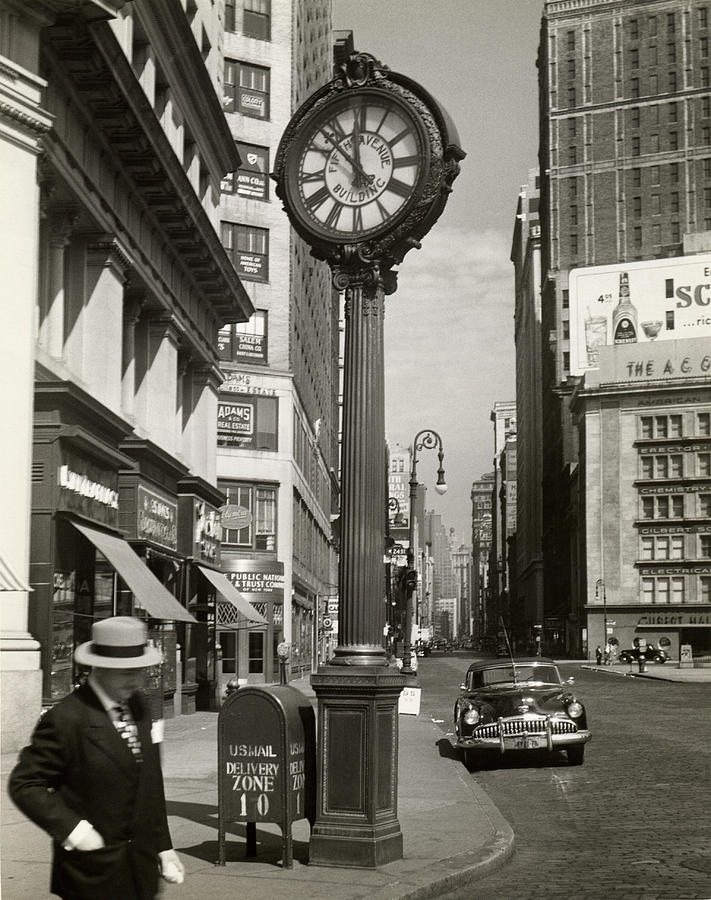 A Street Clock On Fifth Ave., Nyc Photograph by George Marks
