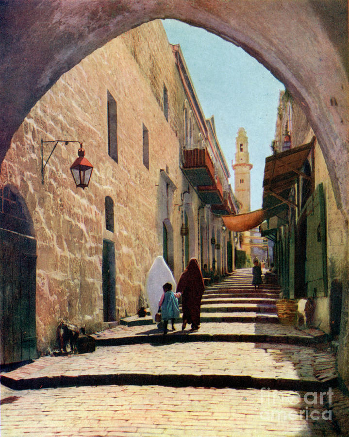 A Street In Jerusalem, Israel, 1926 Drawing by Print Collector
