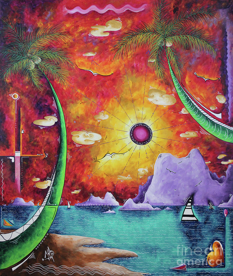A stunning Tropical Surrealist Sunset Ocean Painting A World Awaits by MADART by Megan Duncanson