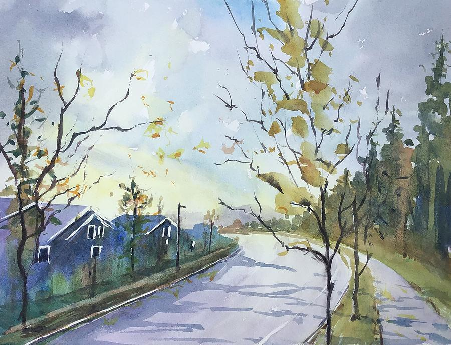 Autumn Painting - A Sun Break On The Way Home by Yohana Knobloch