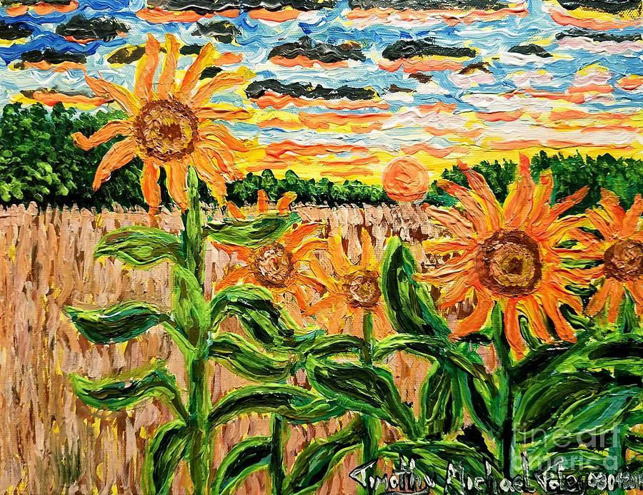 A Sunrise Amongst Sunflowers  by Timothy Foley