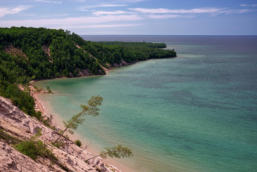 Mi Photograph - A Superior Beach #2 - Pictured Rocks National Lakeshore View Towards Au Sable Lighthouse by Peter Herman