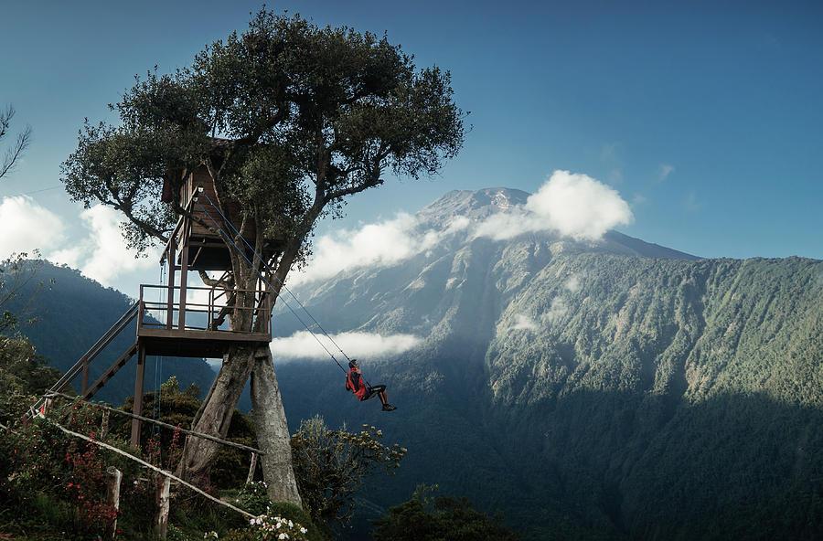 A swing at Casa del Arbol-The treehouse in Ecuador by Kamran Ali