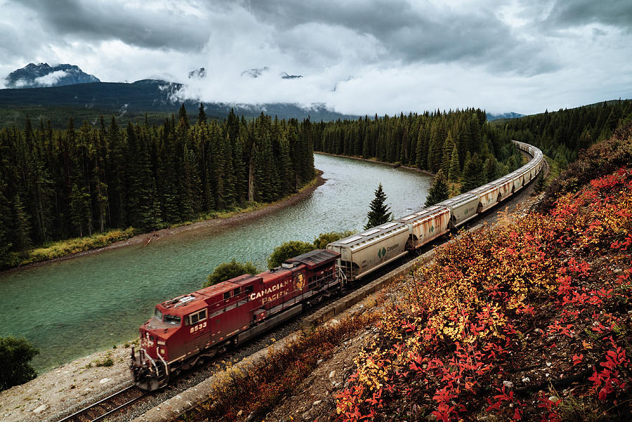A train in the Banff National Park in Canada by Kamran Ali