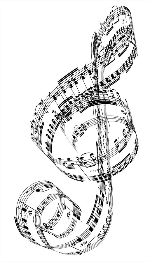 A Treble Clef Made From Beethovens Digital Art by Ian Mckinnell