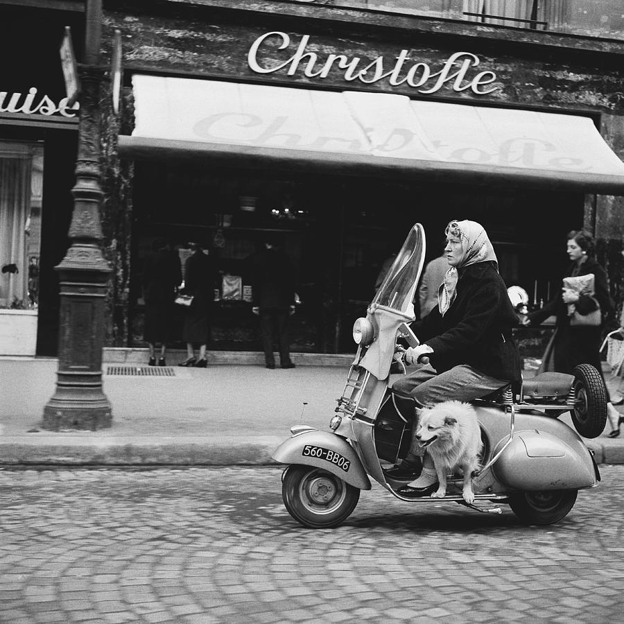 A Vespa Scooter Rue Royale In 1954 Photograph by Keystone-france