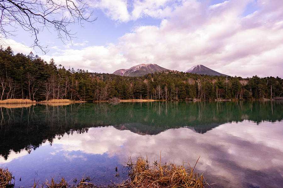 A View of Mt. Meakan and Akan Fuji from Lake Onneto - Japan by Ellie Teramoto