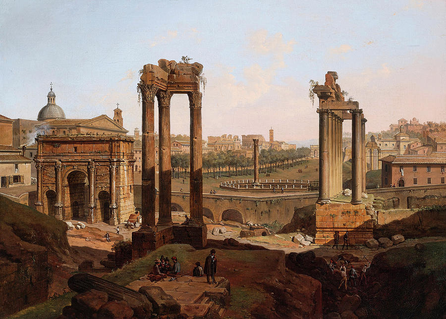 View Painting - A View Of The Forum Romanum by Jean Victor Louis Faure