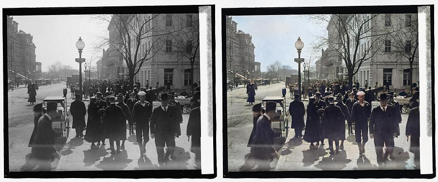 a view on 17th Street, N.W., near the corner of G St. NW and 17th, looking south 1918 colorized-imag Painting