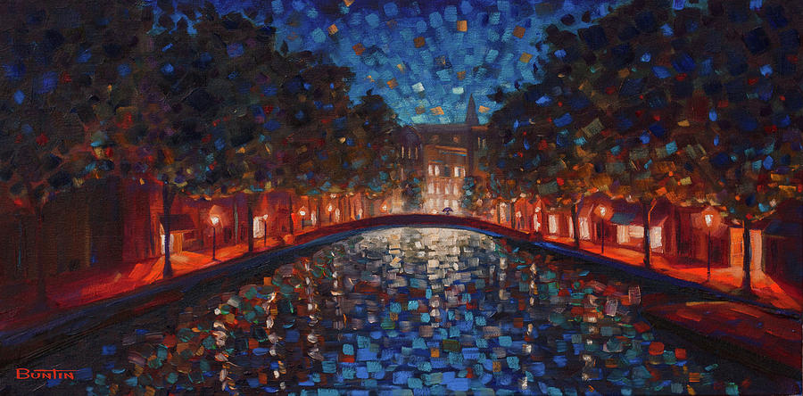 Canals Painting - A Walk in Amsterdam by Rob Buntin