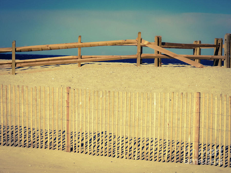 Fence Photograph - A Walk on the Beach by Gina Matarazzo