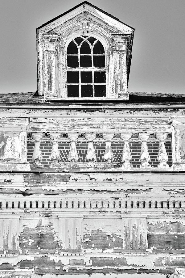 A Window And Balcony Black And White by Lisa Wooten