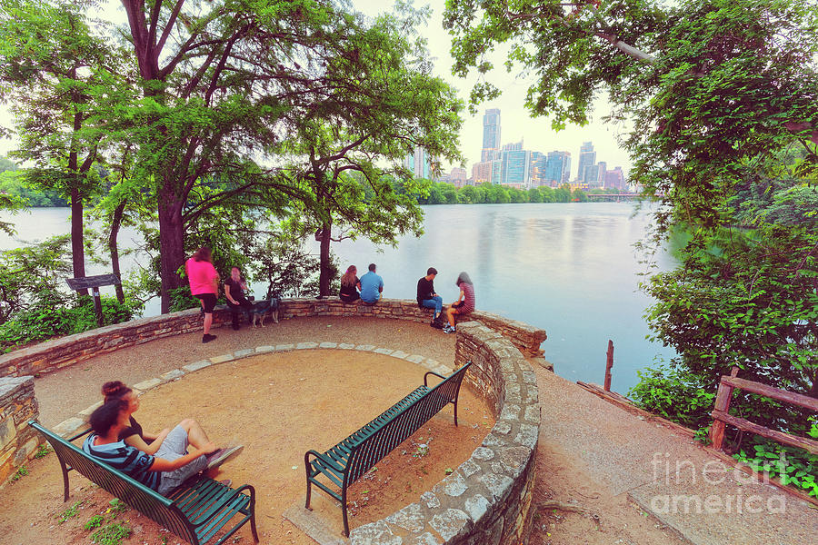 A Window to the Downtown Austin Skyline from Lou Neff Point - Lady Bird Lake Texas Hill Country by Silvio Ligutti