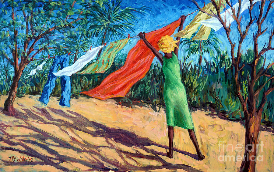 Washing Painting - A Windy Day by Tilly Willis