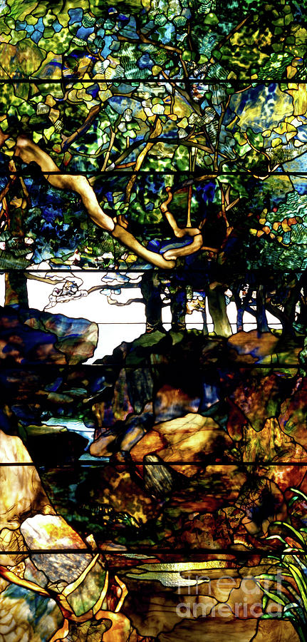 Tiffany Glass Art - A Wooded Landscape Middle Panel by Louis Comfort Tiffany