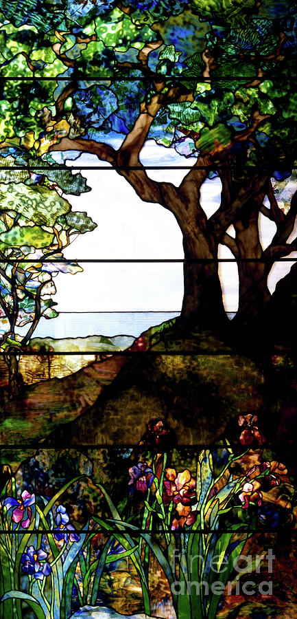 Louis Comfort Tiffany.A Wooded Landscape Right Panel
