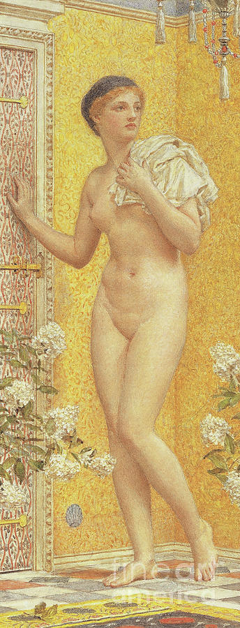 Female Painting - A Yellow Room by Albert Joseph Moore