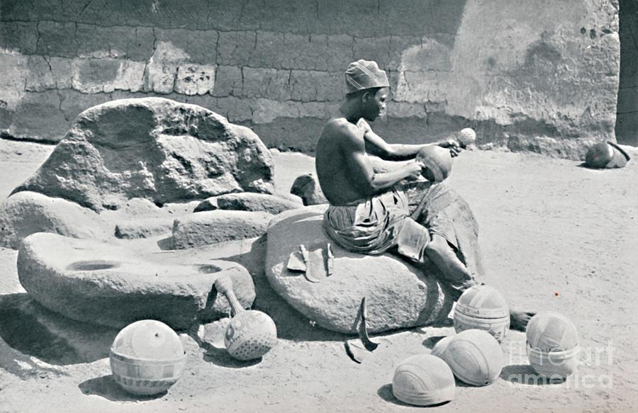 A Yoruba Man Engraving Clay Bowls Drawing by Print Collector