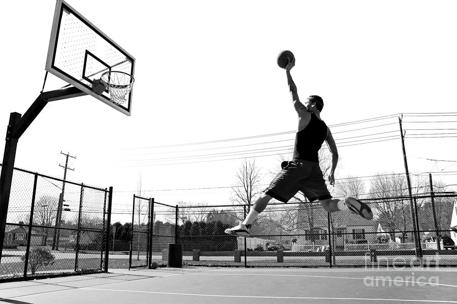 Play Photograph - A Young Basketball Player Flying by Arena Creative