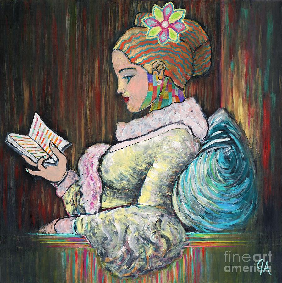 A Young Girl Reading, Jeremy Style by Jeremy Aiyadurai