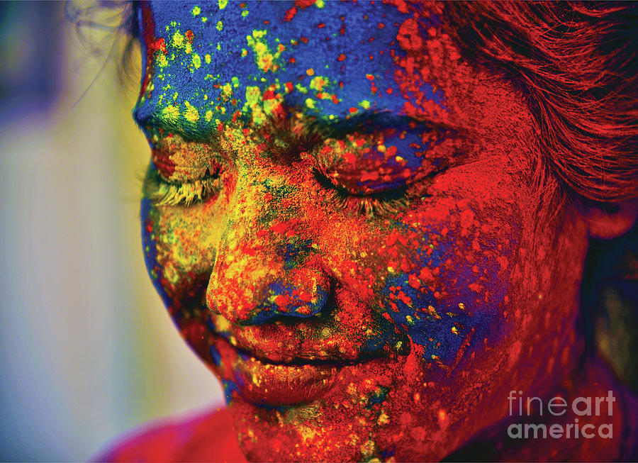 A Young Indian Girl, Her Face Smeared Photograph by Anand Purohit