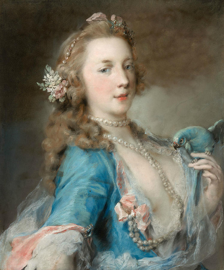 Italian Painters Pastel - A Young Lady With A Parrot by Rosalba Carriera
