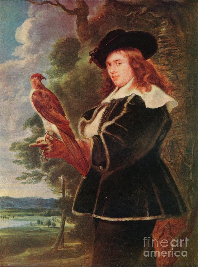 A Young Man With A Falcon Drawing by Print Collector