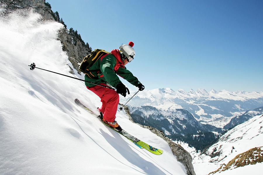 A Young Skier, A Freerider Skis Down A Photograph by Bernard Van Dierendonck / Look-foto