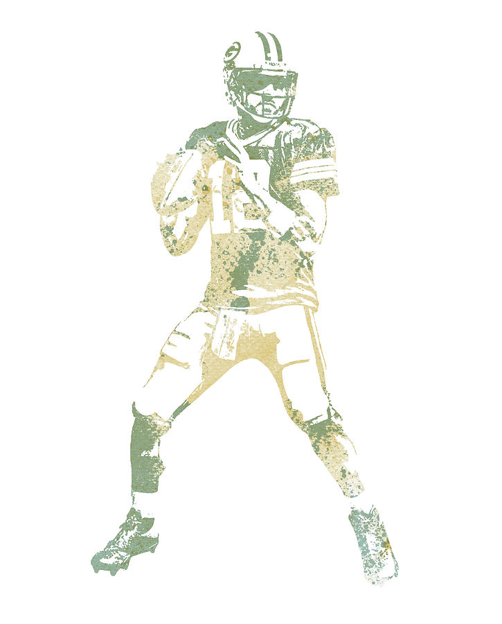 Aaron Rodgers Mixed Media - Aaron Rodgers Green Bay Packers Water Color Pixel Art 10 by Joe Hamilton