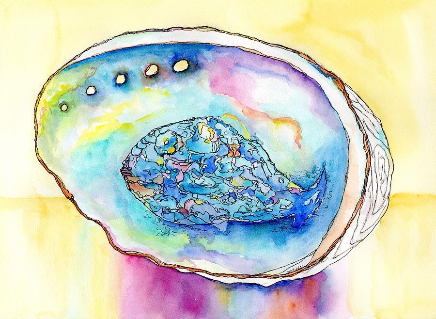 Abalone Shell Reflections by Carlin Blahnik CarlinArtWatercolor
