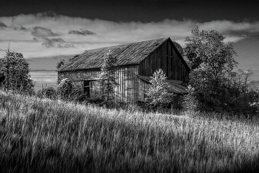 Abandoned Barn in Black and White on a Farm in the Early Morning by Randall Nyhof