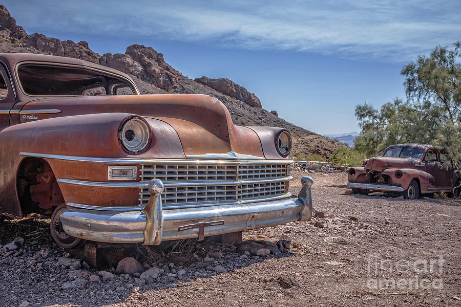 Cars Photograph - Abandoned Cars In The Desert by Edward Fielding