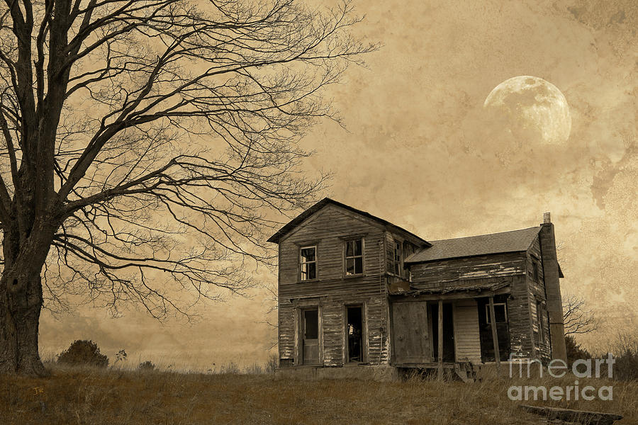 Abandoned Homestead Moonrise Photograph