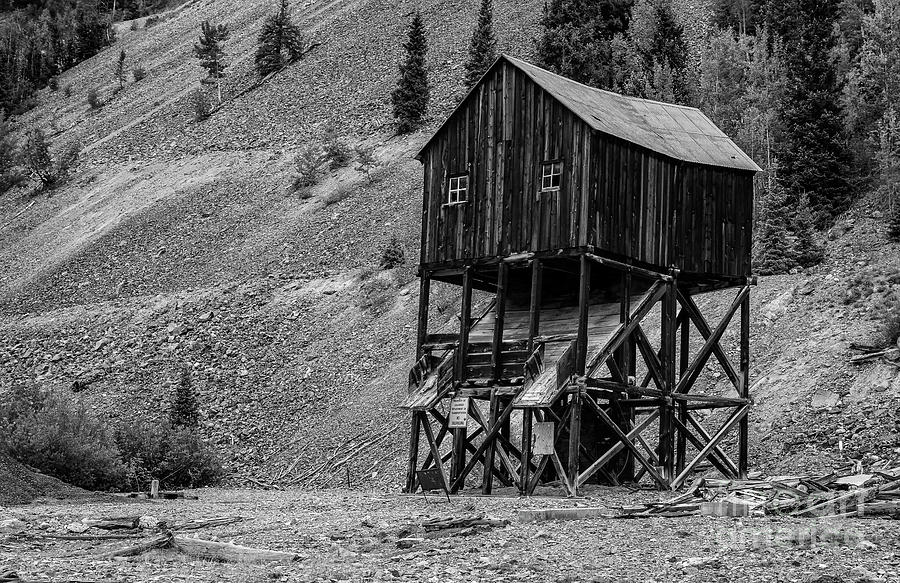 Abandoned Mining Structure in Black and White by Jaime Miller