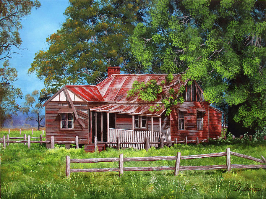 Landscape Painting - Abandoned Old Farm House by Debra Dickson