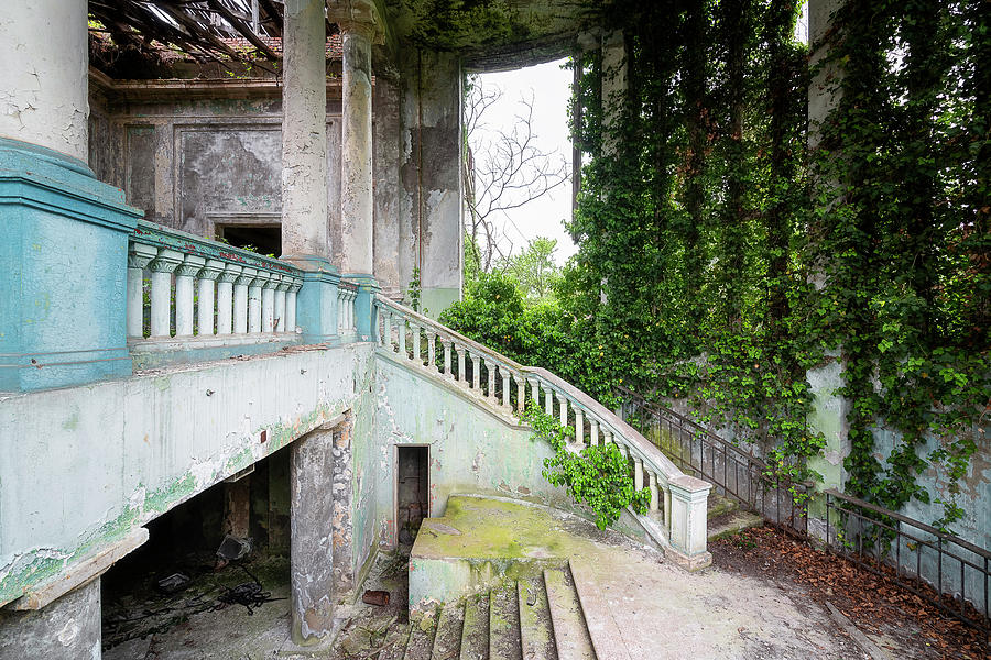 Abandoned Overgrown Staircase by Roman Robroek