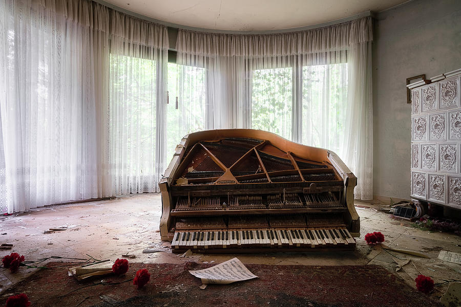 Abandoned Piano with Flowers by Roman Robroek