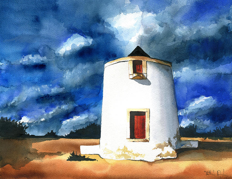 Mill Painting - Abandoned Portuguese Windmill by Dora Hathazi Mendes
