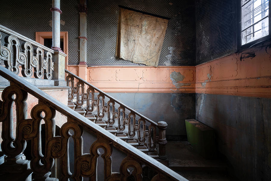 Abandoned Staircase with Map by Roman Robroek