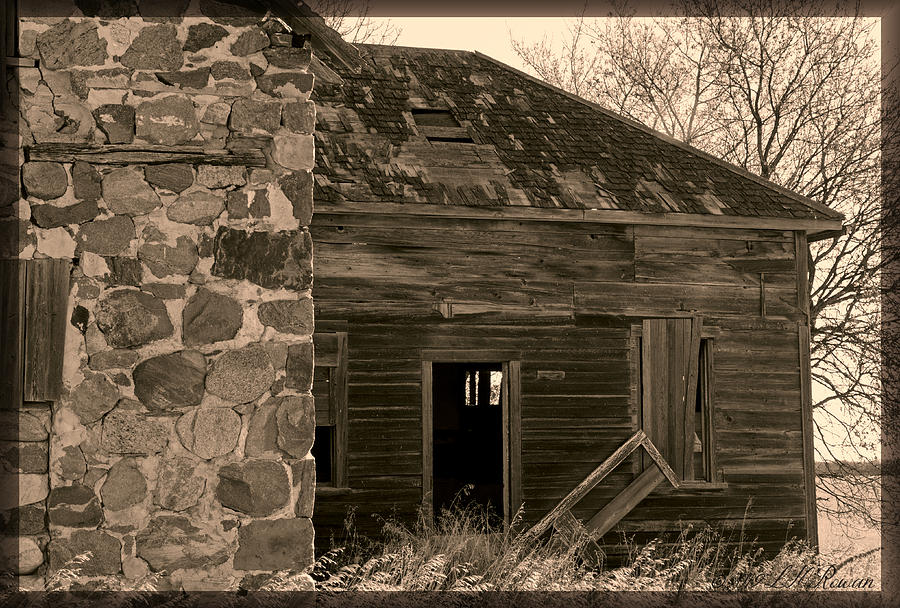 Stone House Photograph - Abandoned Stone Home In Sepia by Images Undefined