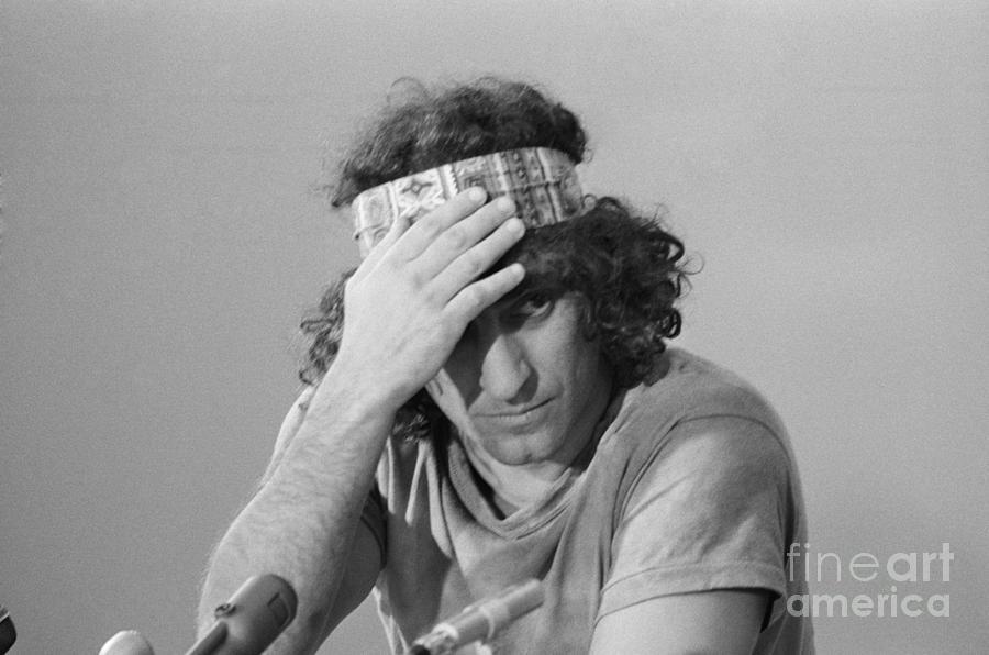 Abbie Hoffman Adjusting Headband Photograph by Bettmann